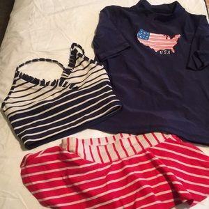 3 piece girl's swimwear set, size 6/7